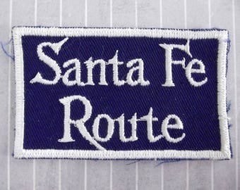 """Vintage 3.1"""" Sew On Santa Fe Route Railroad Patch, Atchison Topeka and Santa Fe Railway, Train Collectible, AT and SF"""