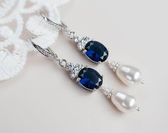 Bridal Earrings, Bridal Pearl and Blue Sapphire Earrings, Something Blue Earrings, Wedding Jewelry, Bridal CZ Sapphire and Pearls Jewelry