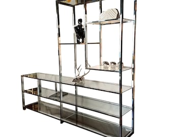 Extra Wide Chrome Baughman Style Etagere