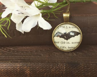 VINTAGE BAT NECKLACE - vintage illustration - bat jewelry- animal jewelry - animal pendant - curiosities and oddities - bat keychain
