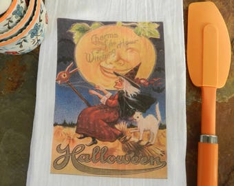 halloween tea towel witch flour sack towel vintage halloween kitchen decor - Halloween Kitchen Decor