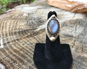 Grey Moonstone and Sterling Silver Statement Ring - Size 5.5