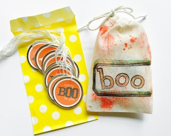 Boo Tags, Halloween Gift Tags, 15 Small Round Metal Rimmed Tags, Gift Tag, Happy Boo to You, Scrapbooking, Party Favor