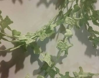 Teddy bears and hearts ribbon trim, pale green bears, DIY sewing supply