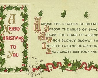 Holly Frame and Accents and Christmas Verse Embossed Antique Christmas Postcard Sam Gabriel Publisher 1912