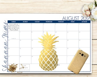 2017-2018 Custom Desk Calendar, Desk Pad, Blotter Calendar - Golden Pineapple