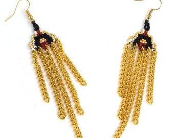Boho Chic Earrings - Chain Fringes - Boho Earrings - Red and Gold