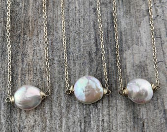Simple Coin Pearl Necklace
