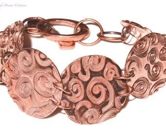 Original artisanal copper bracelet (artisanal work of the metal paste), handmade, unique