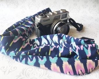 Scarf Camera Strap, DSLR Camera Strap, Soft and Silky, Nikon, Canon, DSLR Photography,  Photographer Gift, Aztec - Ikat Watercolor