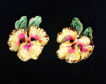 VENDOME Enamel Pansy Clip-on Vintage Earrings