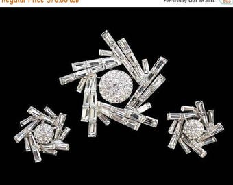 20% OFF SALE - Exquisite BOUCHER Crystal Keystone, Baguette and Chaton Rhinestone Brooch and Earring Demi - Inventory No. 3309 and 3406