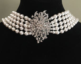 Audrey Hepburn style Necklace replica pearl necklace with brooch 5 multi strands Swarovski Pearls backdrop back drape Holly Golightly bridal