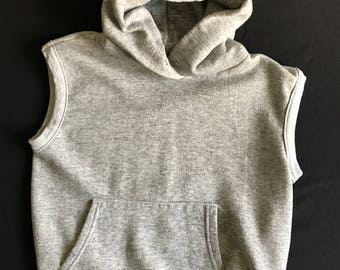 80's Iconic Gray Heather Sleeveless Hoodie Pouch Pocket Let's Get Physical Man Eater Workout Jane Fonda Fitness