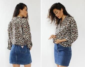 Leopard Blouse • Vintage Silk Blouse • 90s Blouse • Silk Button Down • Vintage Silk Shirt • Slouchy Shirt • 90s Top | T849