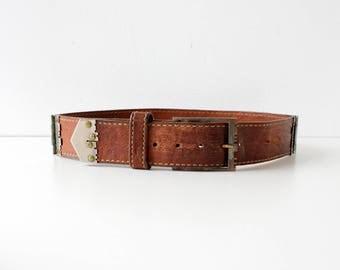 Vintage Vera Neumann Belt • 70s Leather Belt • Brown Leather Belt • Vintage Leather Belt • Vintage Vera Belt • Vintage Brown Belt | BT369