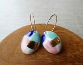 Watercolour Oval Hoop Ear...