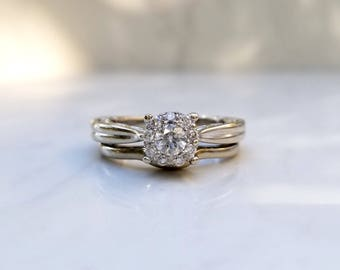 Estate 14k Solid White Gold Diamond Round Cluster Wedding Set Engagement Ring (Size 5.75) with Matching Band (Size 6.25)