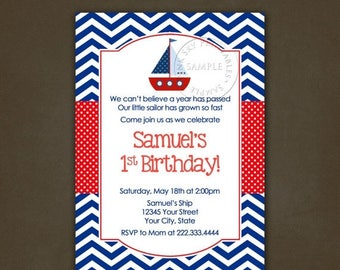 ON SALE Sailboat Nautical Birthday Party invitation - Printable File, Personalized