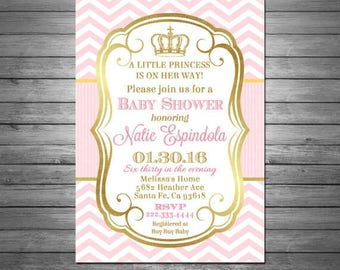 ON SALE Princess Baby Shower Invitation, Baby Shower Invitation for a Girl, Pink Chevron, Pink and Gold, Elegant, Crown Invitation, Printabl