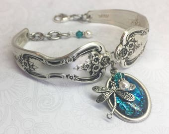 Spoon Bracelet, Dragonfly, Blue Paua Shell, Silverware Jewelry  - 'Magnolia' 1951