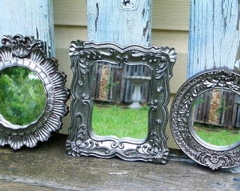 3 Silver Shabby Chic Ornate Wall Mirrors Cottage Decor Nursery Decor