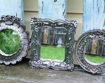 3 Silver Shabby Chic Ornate Wall Mirrors Cottage Decor Nursery Decor
