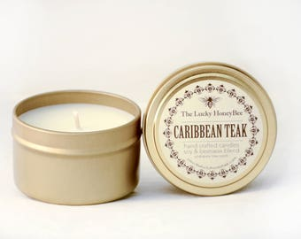 Caribbean Teak || 6 oz Scented Candle || Soy + Beeswax Blend Candle in Gold Tin