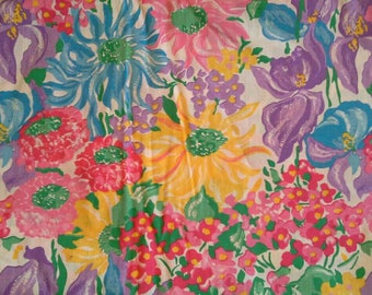 Blue, Pink, Yellow and Lavender Floral Print Fabric Cotton Polyester Blend 5 Yards X0997