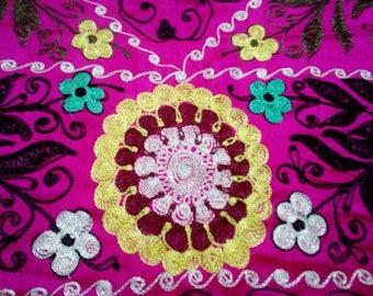 Uzbek vintage pink suzani