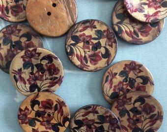 6 x vintage burgundy red floral coconut button 40mm.