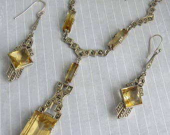 ART DECO 1930s 935 Sterling Silver Marcasite Citrine Coloured Stone PENDANT/Earrings