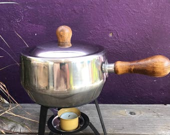 Vintage 1970s Stainless Steel Fondue Pot with Wooden Handle and 4 Matching Teak Wooden Skewers with Colorful Plastic Tips / Vintage Fondue