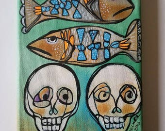 Remembering the fishermen-  original acrylic painting 5x7