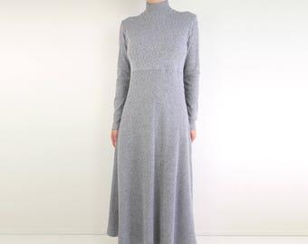 VINTAGE 1990s Thermal Dress Gray Ribbed Longsleeve