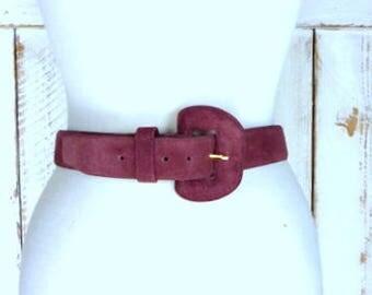 Vintage purple suede leather belt/medium