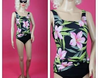 Vintage 1980s Tropical Barbie One Piece Swimsuit Bathing Suit