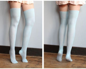 late 20s early 30s stockings blue hand knit thigh high stockings vintage