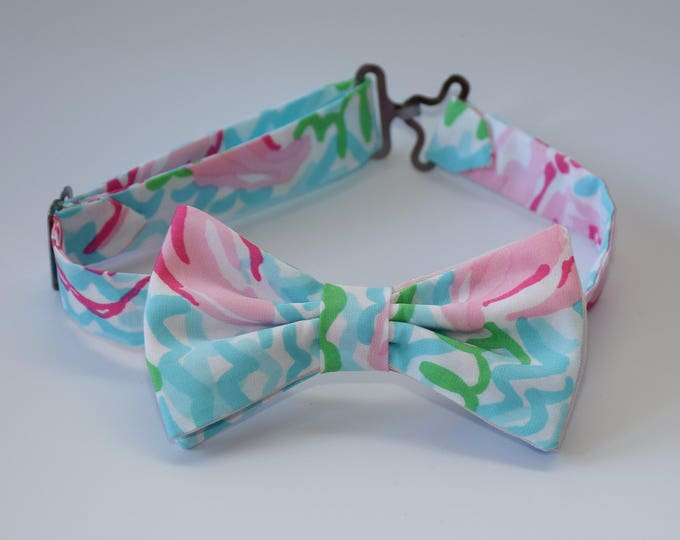 Boy's Lilly Bow Tie, pastel pinks/blues Lobstah Roll, 2015 print, wedding bow tie, toddler bow tie, ring bearer bow tie, LAST ONE remaining