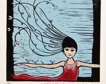 linocut, Freedom, printmaking, birds, hair, sky blue, red, inspirational art, feminine art, blue dress, flying, lifting, new life, new job