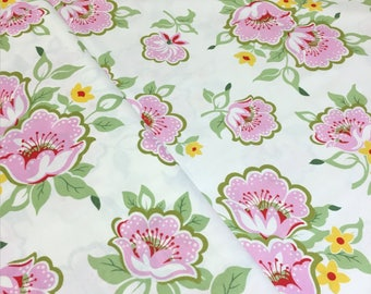 Heather Bailey Nicey Jane Pink Church Flowers Cotton Fabric Pink Green