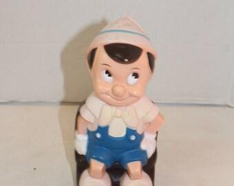 Vintage Walt Disney Pinochhio Plastic Bank collectible 1970's Play pal plastics