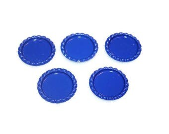 "Flattened 1"" Blue Bottle caps Double sided  - Set of 20 - Wholesale Bottle Caps - Blue Bottle Caps - 25mm Bottle Caps"