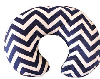 boppy cover, nursing pillow cover with zipper,  navy chevron  and ivory all minky boppy cover