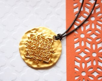 Ornate Necklace, Dark Brown Leather Cord, Gold Plated Floral Ornate Medallion, Ready to Ship