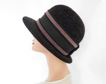 French cloche hat, vintage XL black tweed hat, Paris,