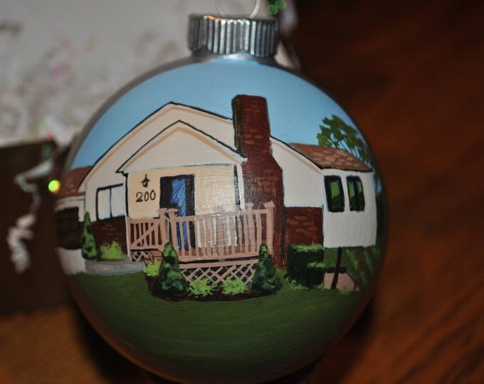 Great Hand Painted Christmas Ornament of home, great housewarming home ornament, great New Home ornament, great realtor home ornament sold
