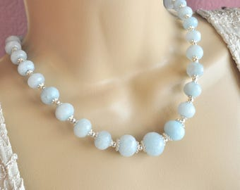 Light Blue Apatite Quartz Faceted Rondelles and Silver Necklace and Earrings Set