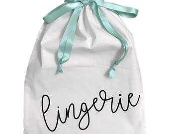 Lingerie Travel Bag with Satin Drawstring Bridesmaids, Wedding, Personalized Available