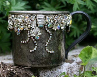 Jeweled Vintage Silver Plate Encrusted Cup Jewelry Mosaic Crystals Rhinestones Romantic Shabby Original Art Home Decor Gift for Her